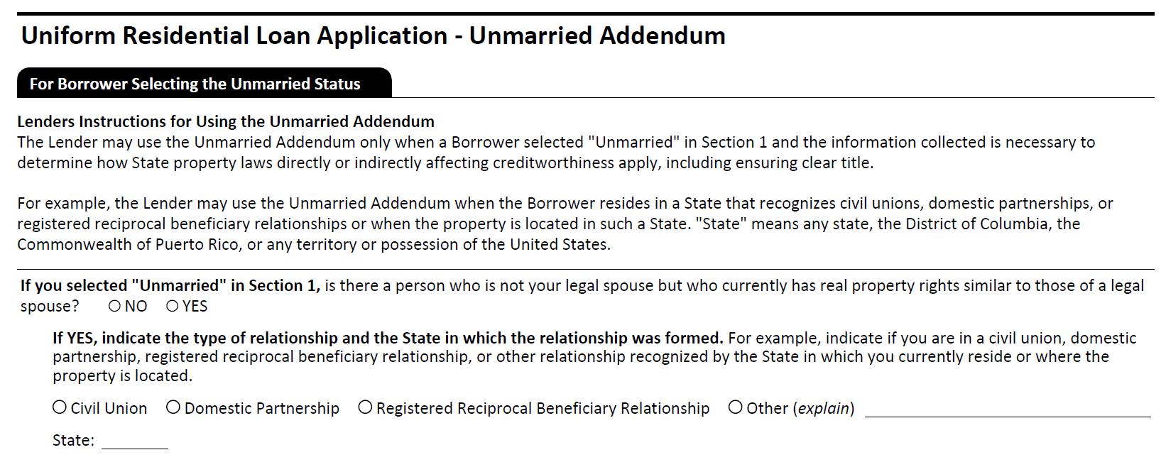URLA Unmarried Addendum
